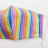"CHILD ""EarLoop"" cotton face mask- rainbow stripe"