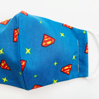 "CHILD ""EarLoop"" cotton face mask- superman logo"