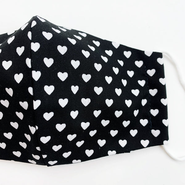 "CHILD ""EarLoop"" cotton face mask- black and white heart"
