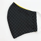 "CHILD ""EarLoop"" cotton face mask- black and white dot"
