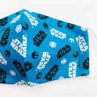 "SMALL CHILD ""EarLoop"" cotton face mask- stars wars blue"