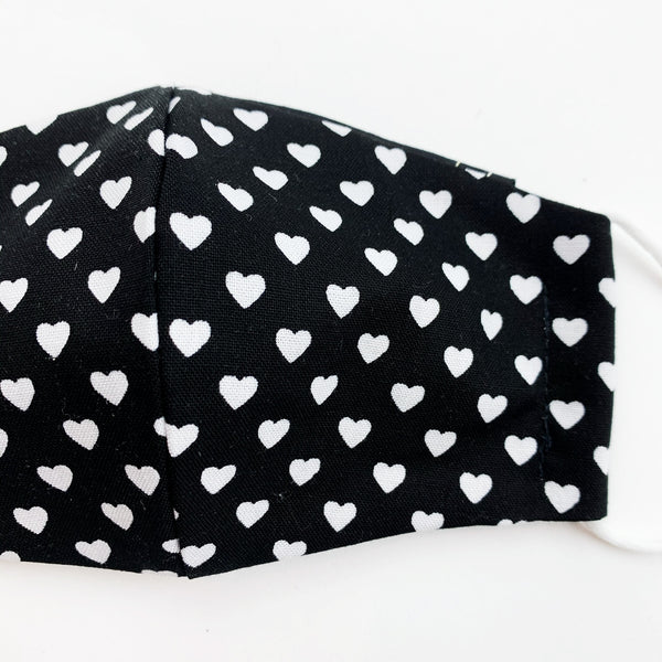 "SMALL CHILD ""EarLoop"" cotton face mask- black and white heart"