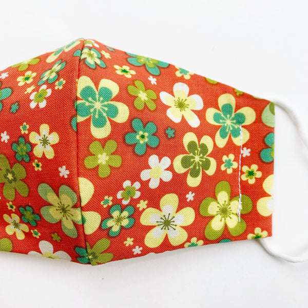 SMALL CHILD cotton face mask- vintage floral green and orange