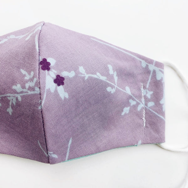 "SMALL CHILD ""EarLoop"" cotton face mask- lavendar floral"
