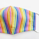 "SMALL CHILD ""EarLoop"" cotton face mask- rainbow stripe"