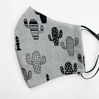 "ADULT ""Ear Loop"" cotton face mask- cactus grey"