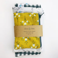ReUsable Snack Bag SET - marble, check, mustard floral
