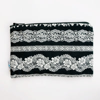 MEDIUM ReUsable Snack Bag - black and white lace