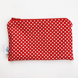 MEDIUM ReUsable Snack Bag - red and white dot