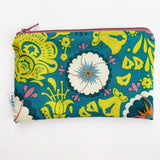MEDIUM ReUsable Snack Bag - blue and mustard floral
