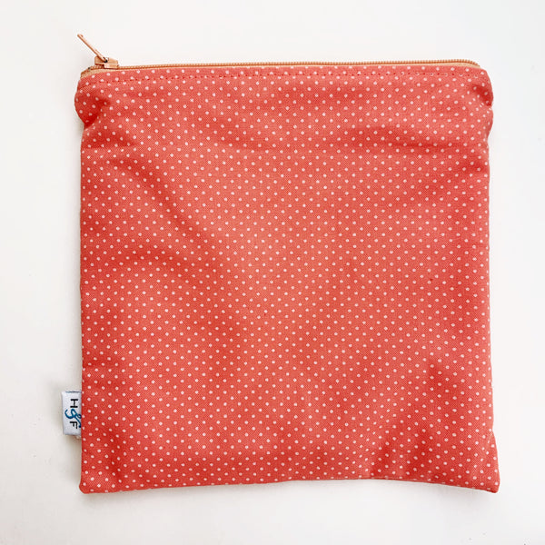LARGE ReUsable Snack Bag - coral dot