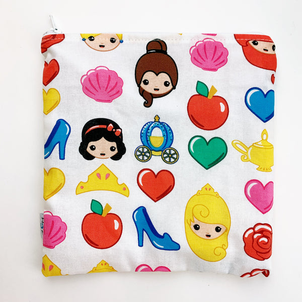 LARGE ReUsable Snack Bag - princess emoji
