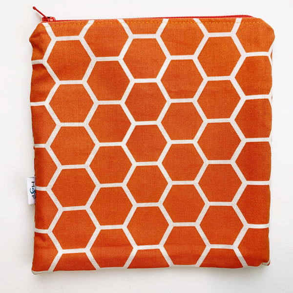 LARGE ReUsable Snack Bag - orange honeycomb