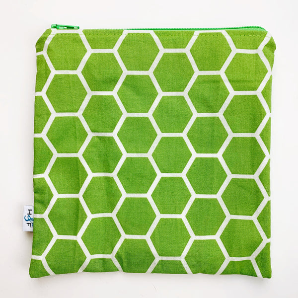 LARGE ReUsable Snack Bag - spring green honeycomb