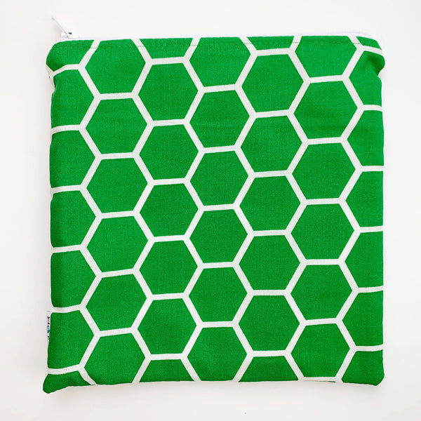 LARGE ReUsable Snack Bag - green honeycomb