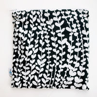 LARGE ReUsable Snack Bag - black and white vines
