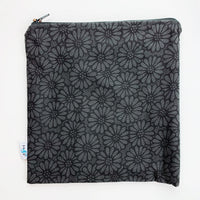 LARGE ReUsable Snack Bag - black and grey flower