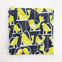 LARGE ReUsable Snack Bag - grey and yellow birds
