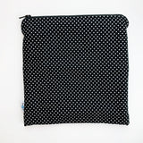 LARGE ReUsable Snack Bag - black and white dot