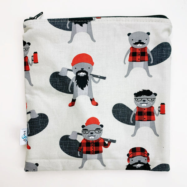 LARGE ReUsable Snack Bag - Canada beaver