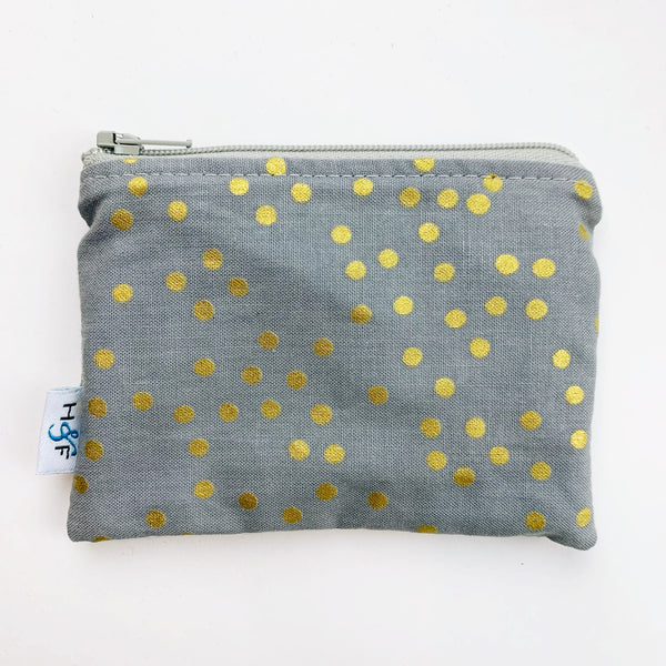 SMALL ReUsable Snack Bag - grey gold dot
