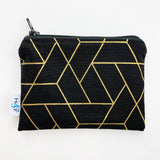 SMALL ReUsable Snack Bag - black and gold geo