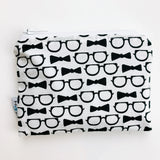 SMALL ReUsable Snack Bag - bowties and glasses