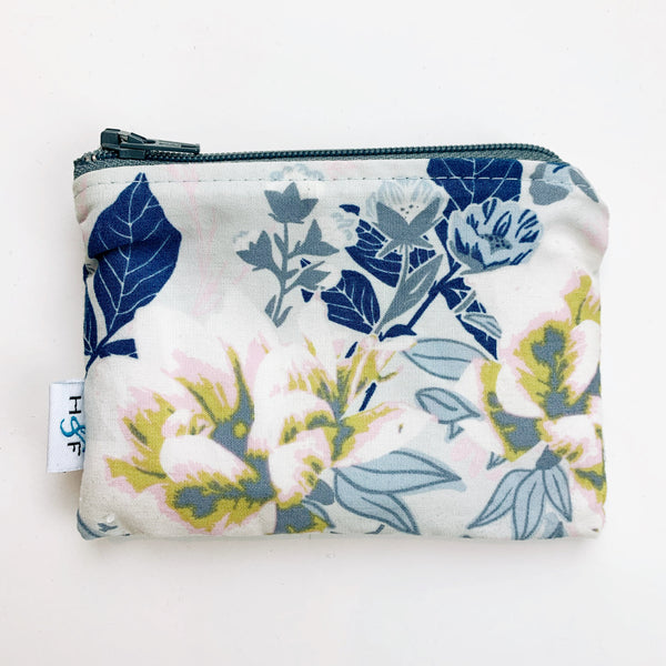 SMALL ReUsable Snack Bag - dusty blue floral