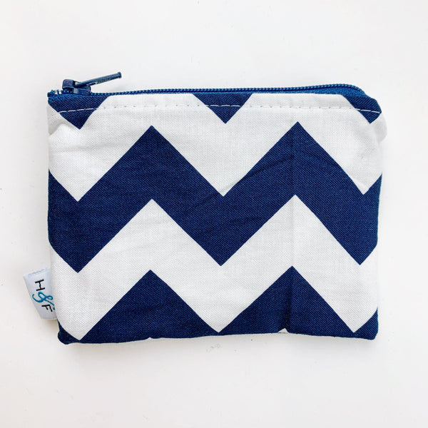 SMALL ReUsable Snack Bag - indigo chevron