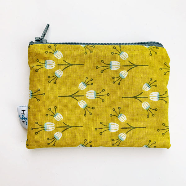 SMALL ReUsable Snack Bag - mustard floral