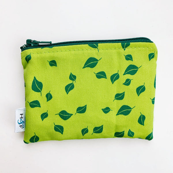 SMALL ReUsable Snack Bag - green leaves