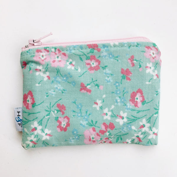 SMALL ReUsable Snack Bag - mint vintage flower