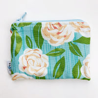 SMALL ReUsable Snack Bag - blue and white rose