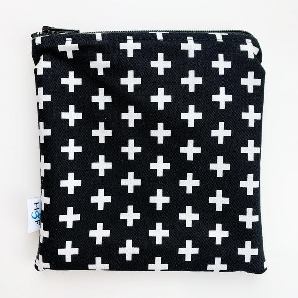 MEDIUM 'square' ReUsable Snack Bag - black and white cross