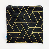 MEDIUM 'square' ReUsable Snack Bag - black and gold geo