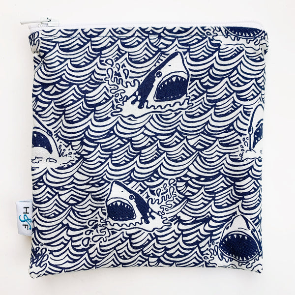 MEDIUM 'square' ReUsable Snack Bag - sharks