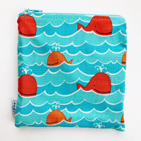 MEDIUM 'square' ReUsable Snack Bag - whales