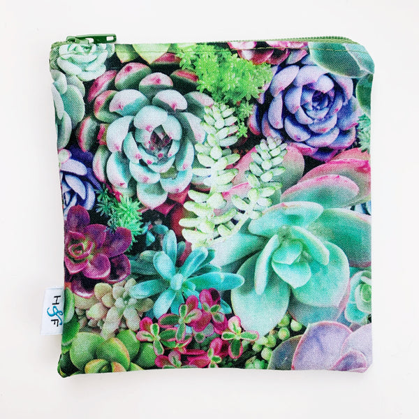 MEDIUM 'square' ReUsable Snack Bag - succulent