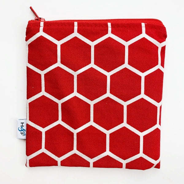 MEDIUM 'square' ReUsable Snack Bag - red honeycomb
