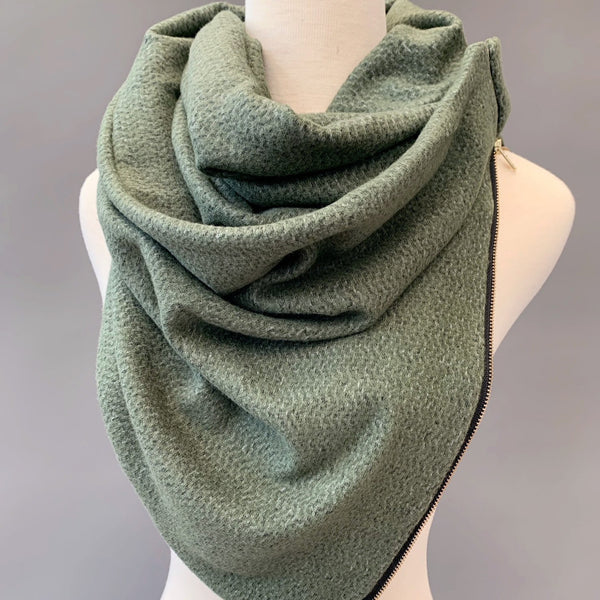 ADULT Zipper cowl wrap scarf - olive sweater knit