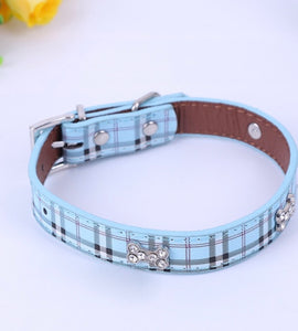Rhinestone Bone Plaid Dog Collar