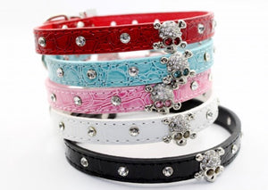 Rhinestone Skull Dog Collar