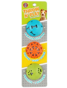 Throw n Play Dog Ball Toy Set (pack of 3)