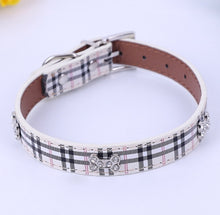 Load image into Gallery viewer, Rhinestone Bone Plaid Dog Collar
