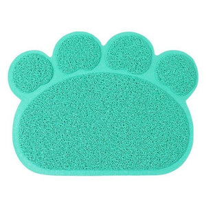 Green Paw Shape Pet Food & Litter Mat