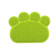 Load image into Gallery viewer, Green Paw Shape Pet Food & Litter Mat