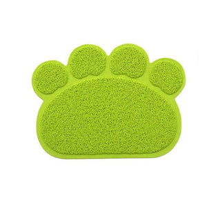 Gray Paw Shape Pet Food & Litter Mat