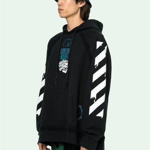 Off-White 20SS DRIPPING ARROWS INCOMPLETE HOODIE オフホワイト パーカー ブラック ホワイト 2色