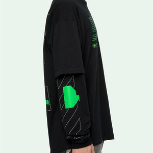 Off-White 2020SS ARCH SHAPES DOUBLE SLEEVE TEE T-SHIRT スリーブ ロゴ 长袖Tシャツ Black white2色