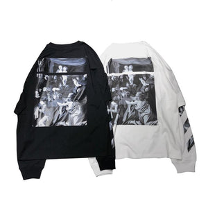 Off-White 2020ss  L/S CARAVAGGIO SQUARE DOUBLE TEE オフホワイト レイヤード ロンT Black white2色